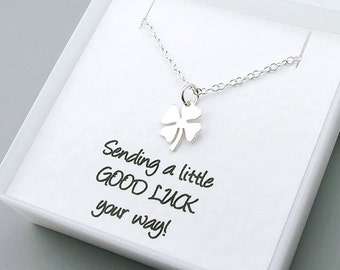 Lucky Clover Necklace, Sterling Silver - Message Card - Good Luck Jewelry, Shamrock Necklace, Four Leaf Clover