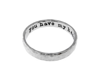 Custom Made Sterling Silver Ring Personalized Hand Stamped Artisan Handmade Hand Crafted Dainty Fine Jewelry