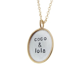 Gold Rimmed Silver Oval Pendant Hand Stamped Kid's Names Mommy Necklace Custom Personalized Family Name Jewelry Engraved Artisan Handmade