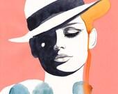 White Hat Blue Dots / 16 x 20 inch print