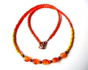 Carnelian necklace, orange gemstone and seed bead layering necklace, orange necklace