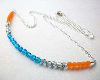 Blue orange necklace, color block necklace, bead strand necklace, turquoise tangerine grey crystal jewelry