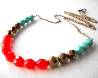 """Czech crystal bead chain necklace, turquoise bronze bohemian necklace, color block czech bead jewelry, 25"""" long brass strand necklace"""