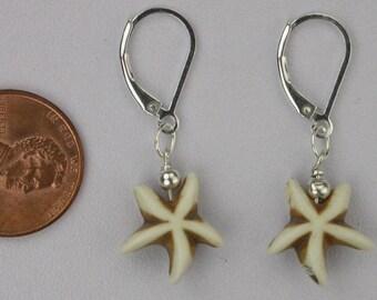 White Starfish Earrings