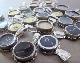 3 Vintage Typewriter Key Pendants - Function, Punctuation and Number Keys - Ready To Wear