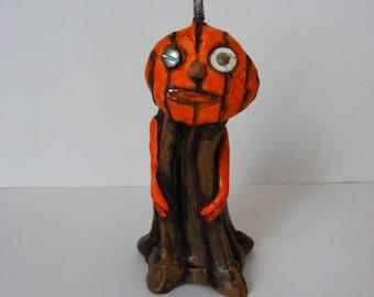 Primitive Folk Art Halloween Pumpkin Stem Art Doll OOAK