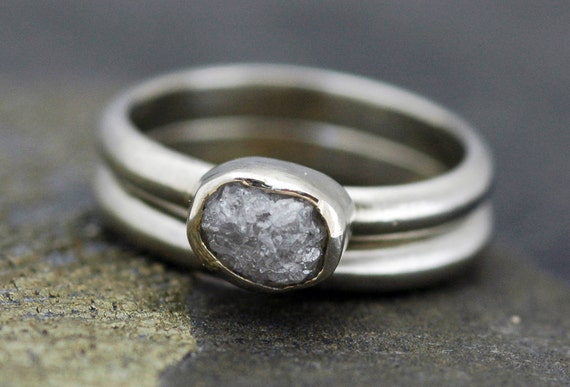 Conflict Free Rough Diamond Engagement and Wedding Ring Set in Recycled 14k White, Rose, or Yellow Gold- One Carat Size C Diamonds