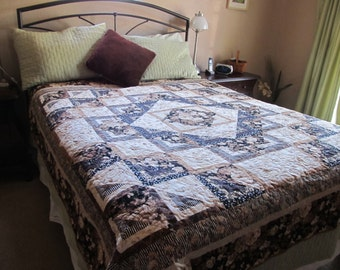 Queen Size Floral Medallion Bed Quilt