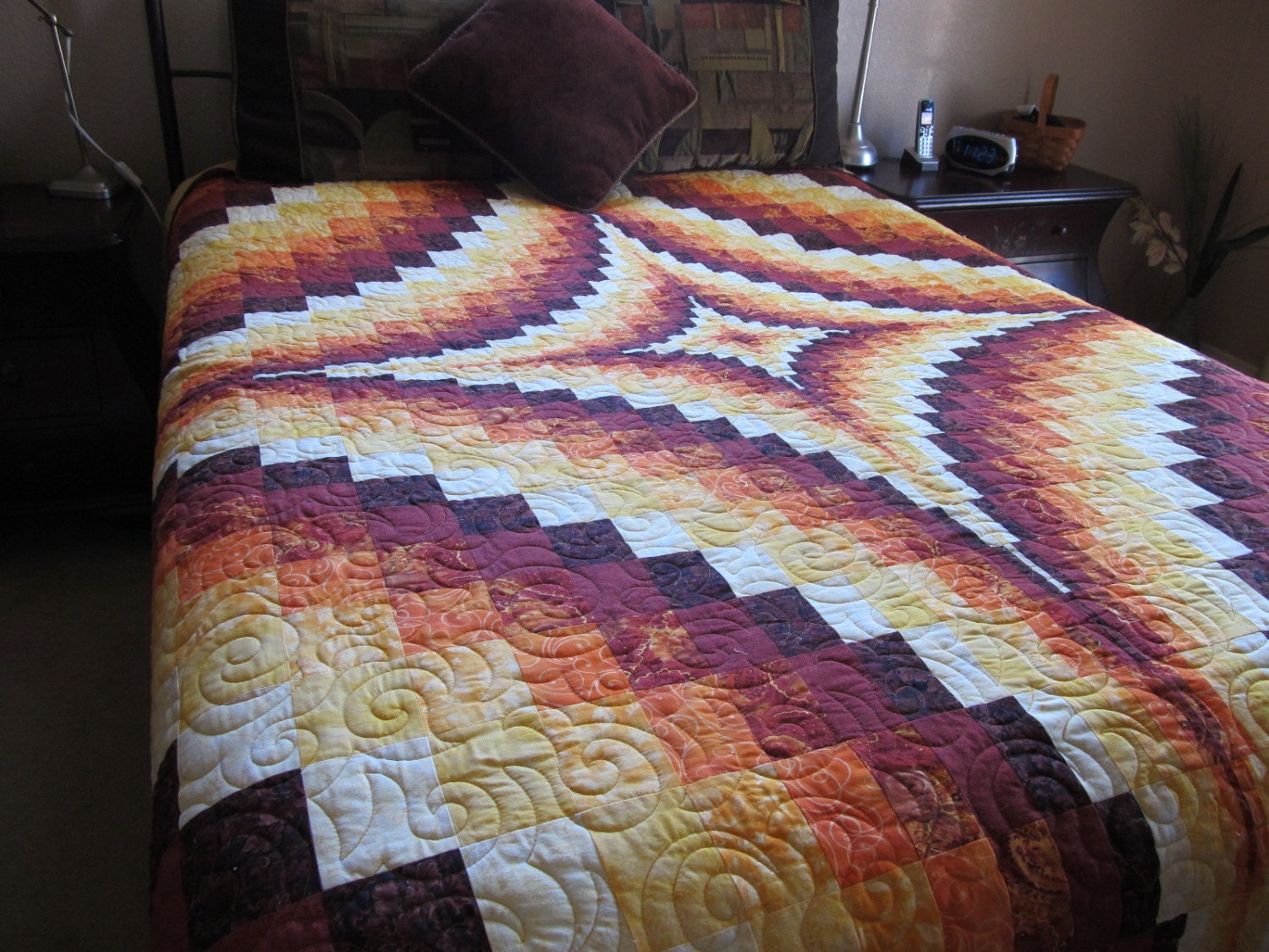 King size bargello trip around the world bed quilt for Bed quilting designs