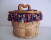 Vintage Lined Bushel Sewing Project Basket with Lid