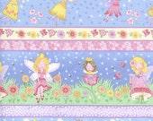 FAIRY BORDER STRIPE #1041 by Andover Fabrics castle fairies rainbows pink
