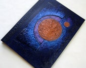 Handmade Journal Refillable Blue Violet Indigo Copper Moon 12x9 Original