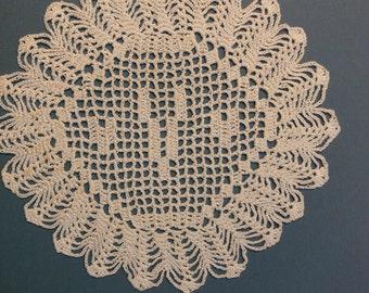 """Custom Crocheted Initial Doily  """"V"""""""