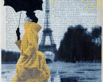 YELLOW RAIN Giclee Print Poster Mixed Media Painting