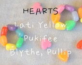 The Original Rainbow HEART Bracelet for Lati Yellow, Blythe, Pullip, & similar dolls