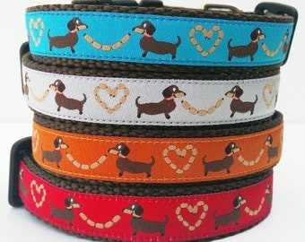 Longback Love, Dog Collar, Handmade, Pet Accessories, Adjustable, Collars, Dachshund, Pet Lover, Small Dog Collar, Doxie, Wiener Dog