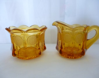 Vintage FOSTORIA Amber Coin Glass Open Sugar and Creamer, With Tags