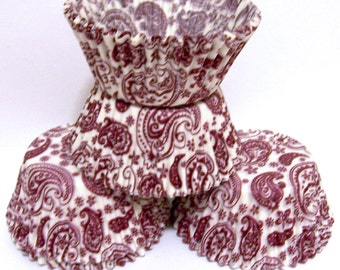 Burgundy Paisley Cupcake Liners - Choose Set of 50 or 100