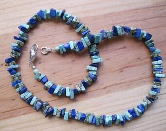 Turquoise, Lapis Chip Necklace - Southwestern Necklace, Mens Turquoise Necklace, Surfer Necklace, Necklace For Men, Mens Choker Necklace