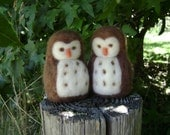Two Wool Owls -  Needle Felted in New Zealand wool - Bird lover - Boys birthday gift
