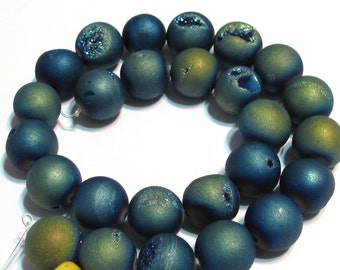 Druzy type round beads 10mm light blue gold matte titanium coated
