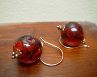 """Sparkling amber earrings with shining copper """"Sol"""""""