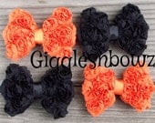 HaLLoWEEN Set Of 4- PeTiTE Size Shabby ROSE Mesh BoWS- New Mini Size 3 inch