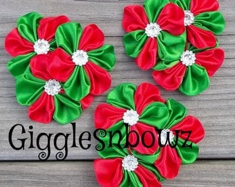 Set of THREE Embellished Satin CLuSTeR Flowers- CHRISTMaS TiME- NEW  2.5-3 inch Size