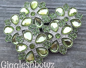 Rhinestone Buttons- NEW Set of FiVE LiMiTED EDiTiON FaNCY XL Buttons- LiME GReeN 30mm