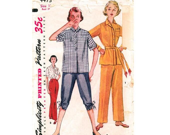 1950s Pajama Pattern Simplicity 4473 Pajama Pants Two Piece Lounge Wear Junior Miss Size 13