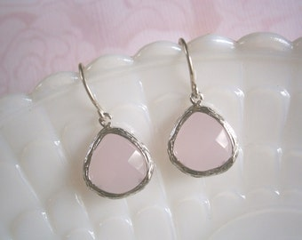 Pink Earrings, Silver Earrings, Blush Pink,  Bridal Jewelry, Bridesmaid Earrings