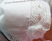 Handkerchief Christening Baby Bonnets - HAND CROCHETED LACE