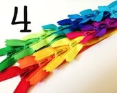 SALE - 30 bright 4 inch YKK zippers - red, orange, yellow, green, lime, turquoise, aqua, royal blue, pink, fuchsia, purple