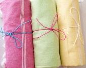 3 pcs. Peshtemal Turkish Towel Green Pink Yellow and White Stripe Tasseled Eco Friendly