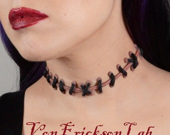 Stitch Necklace - Frankenstein Monster  Zombie Stitches  Choker Necklace-Natural Flesh 2 with small stitches
