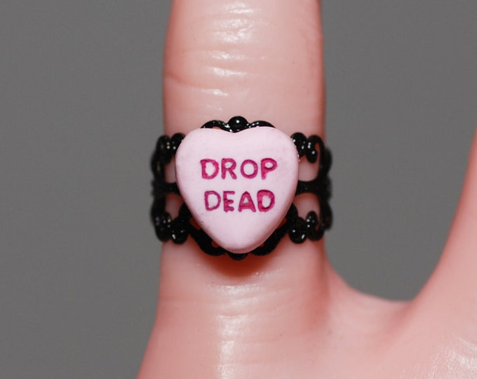 Creepy Cute Miniature Heart Gothic message Ring -  Jewelry - Drop Dead
