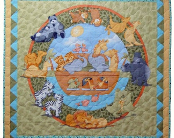 The Arc baby Quilt depicting Noa's Arc with animals