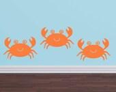 Ocean Decals Crabs - Nursery Children Playroom - Sea Vinyl Wall Decals - Sea Ocean Friends