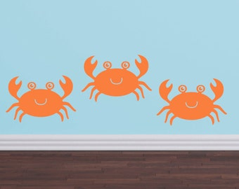 Ocean Decals Crabs - Nursery Children Playroom - Sea Vinyl Wall Decals - Sea Ocean Friends