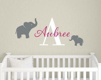 Elephant Childrens Name Decal - Monogram Safari Nursery - Girl Boy Baby