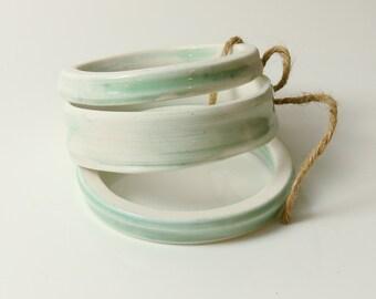 Porcelain Bangle Set of Three Green and White