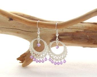 Round Chandelier Earrings - Violet
