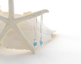Saki Ear Wires w/Aqua Swarovski Cubes