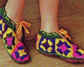 Vintage Crochet Pattern  Granny Square Slippers  Booties Slipper Socks Mocassins INSTANT DOWNLOAD PDF