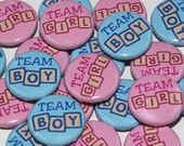 "100 Baby Shower 1"" Pinbacks - Team Girl Team Boy BLOCKS - Gender Reveal Party"