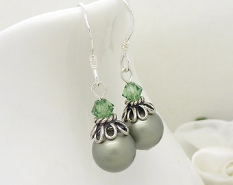 Bridesmaid jewelry, Light green pearl drop earrings, Pale moss pastel green bridesmaid earrings, Sage green pearl earrings, Sterling silver