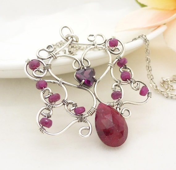 Genuine ruby necklace, Sterling silver wire wrapped jewelry, Handmade July birthstone, Red ruby jewellery, Wire wrapped gemstone necklace