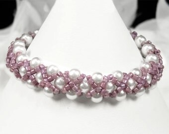 Flower Girl Bracelet, Lilac Pearl Hugs and Kisses Flower Girl Bracelet, Hand-woven Childs Wedding Jewelry - Bella WFG0189