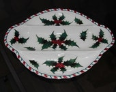 Oval Holly Berry Christmas Dish Hand Painted Ceramic