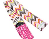 DSLR Camera Strap -- Pink Chevron Padded Camera Strap Cover with Lens Cap Pocket Option -- Hot Pink Chocolate -- Ready To Ship